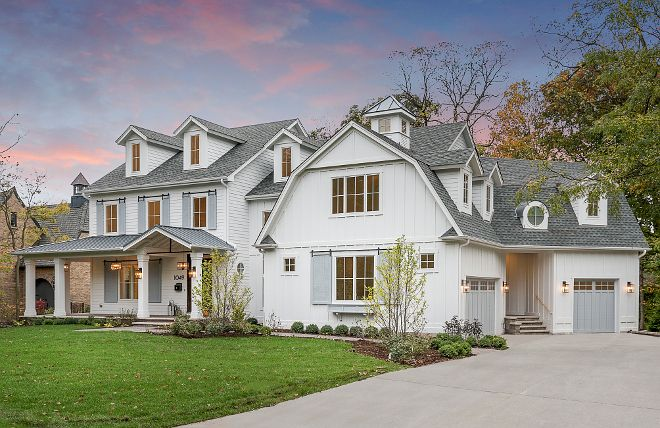 Best Love This White Exterior Home With Grey Shutters And Grey 400 x 300