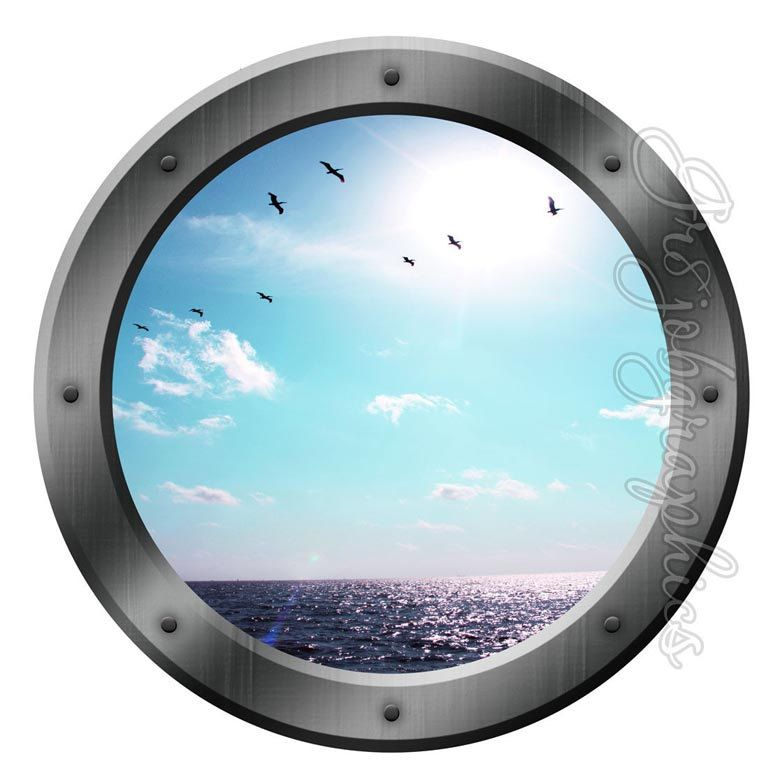 Ocean View Porthole Wall Decals Sea Graphics Peel And Stick Wall Art Room  Decor PO14 By Part 98