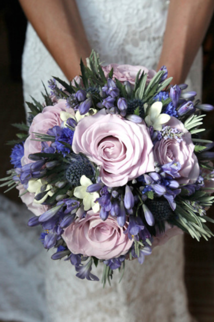 Lilac roses, blue agapanthus, cornflower, lavender and