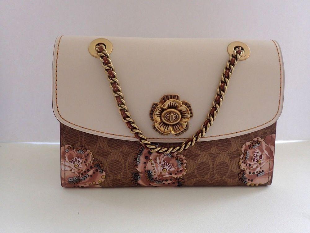 fe0b7d018219 NEW COACH Signature Rose Print Parker Medium Shoulder Bag Tan  Chalk ...