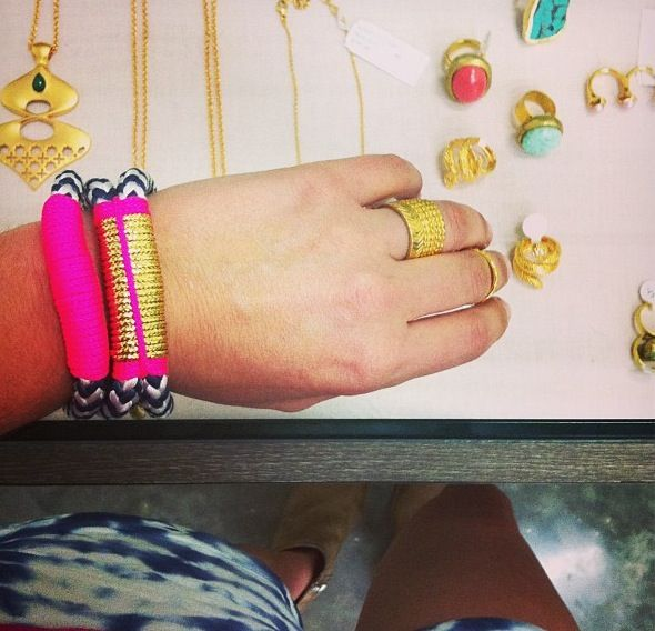 @frankiemiamibeach #stacking on #theropes #theropesmaine #bracelets #pink