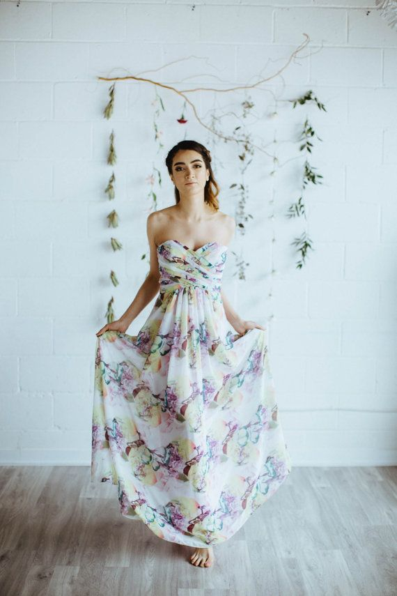 ARIE, Custom Floral Print Bridesmaid Dress Sweetheart Bodice with ...