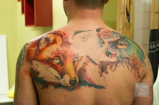 Watercolor Fox And Owl Tattoos By Cata Watercolor Fox Owl Tattoo Tattoos