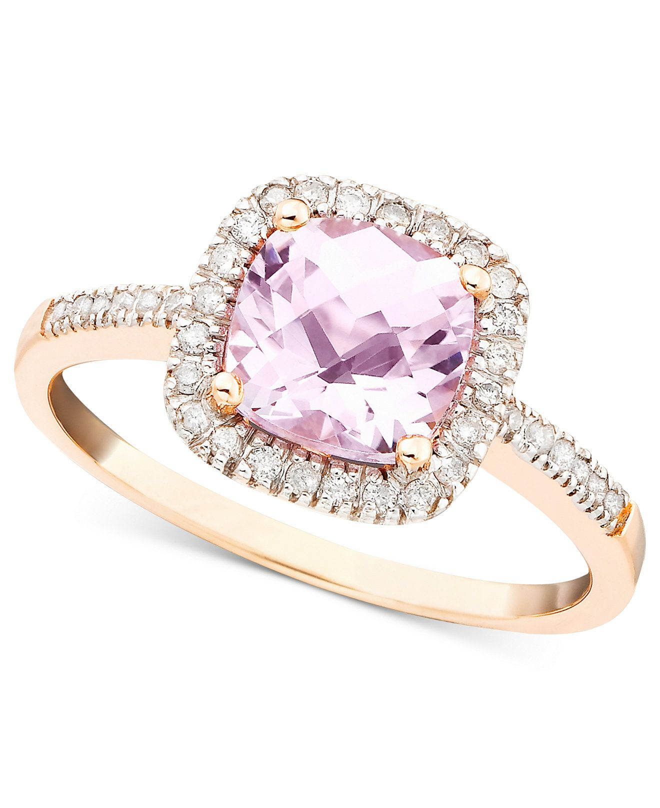 Pink Amethyst 1 1 3 ct t w and Diamond 1 5 ct t w Ring in