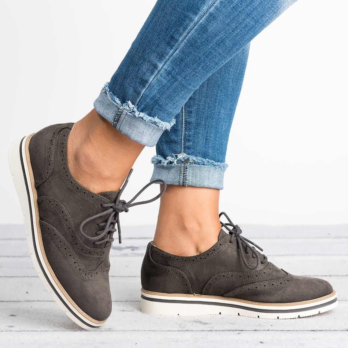 52d70601647 Womens Fashion Suede Artificial Leather Brogue Shoes in 2019