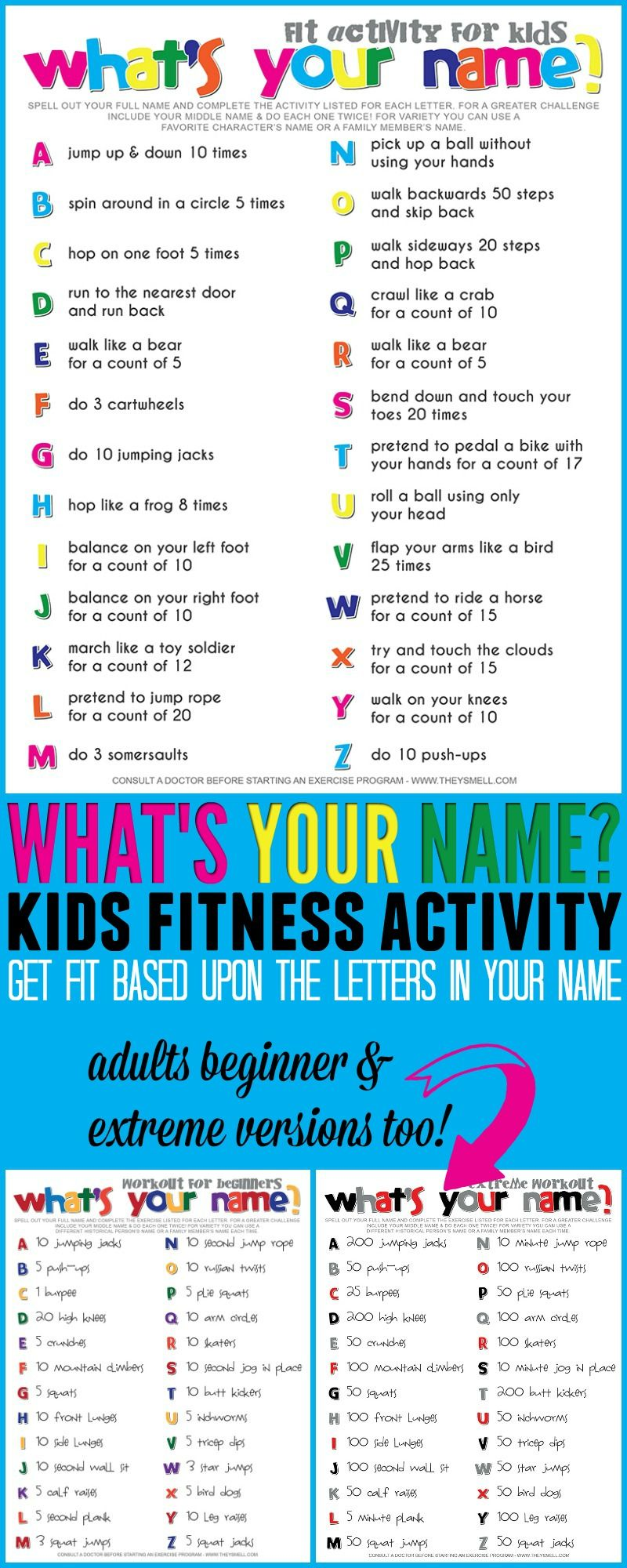 What's Your Name? Fitness Activity Printable for Kids | Fitness ...