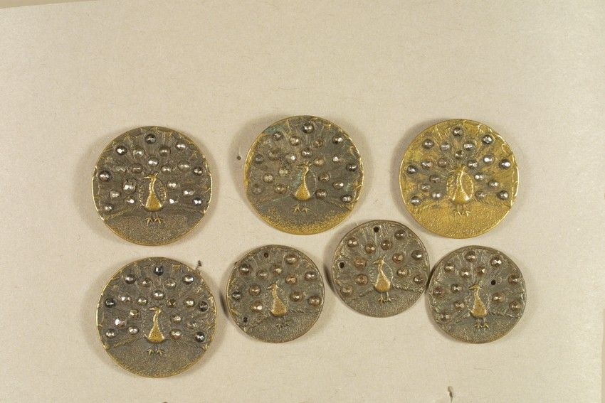 Set of Peacock Buttons | 1935.1093a-g -- Historic New England