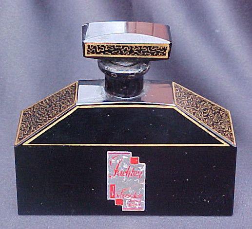 Very RARE Czech Art Deco Black Opaque Perfume Bottle Made for German Frangrance