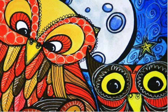 Night Owl Trio by persimmonsgal on Etsy, $10.00