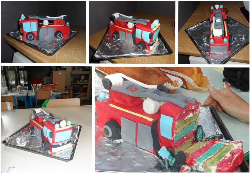 gâteau camion pompiers