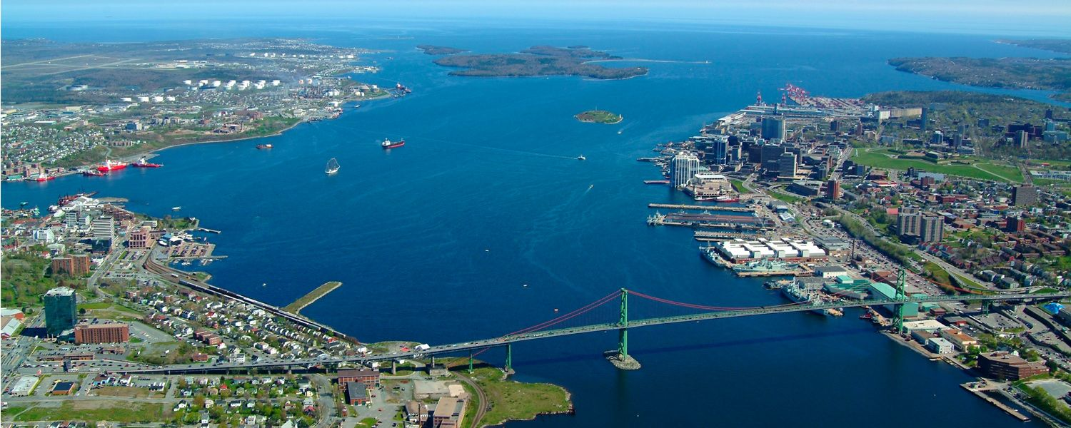 Aerial View of Dartmouth and Halifax, Nova Scotia with Halifax Harbour