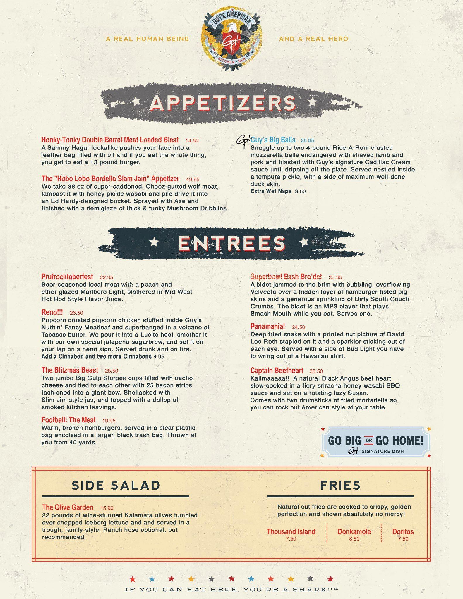 Here Is Guys American Kitchen Bar Mock Menu