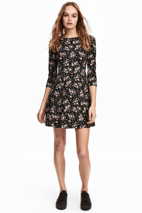 Jerseykleid | Schwarz/Geblümt | DAMEN | H&M DE | Lydia Martin Style ...
