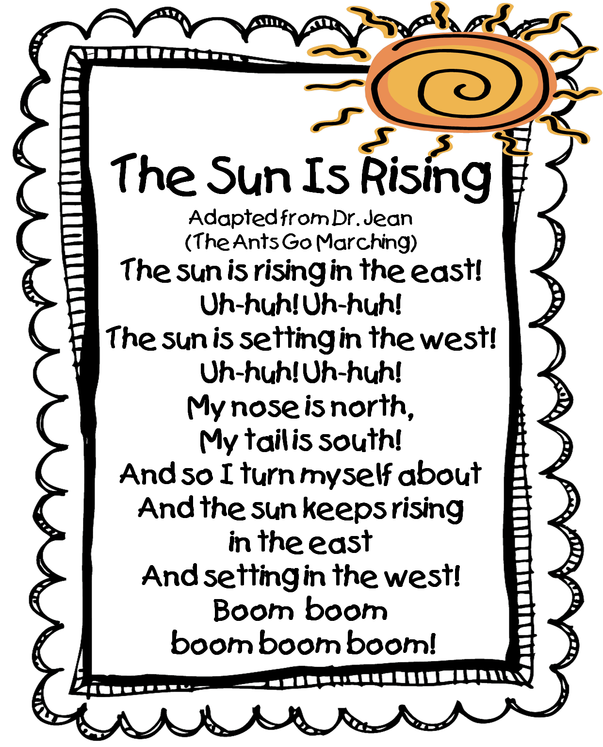 First Grade Wow The Sun Is Rising Song Great Site