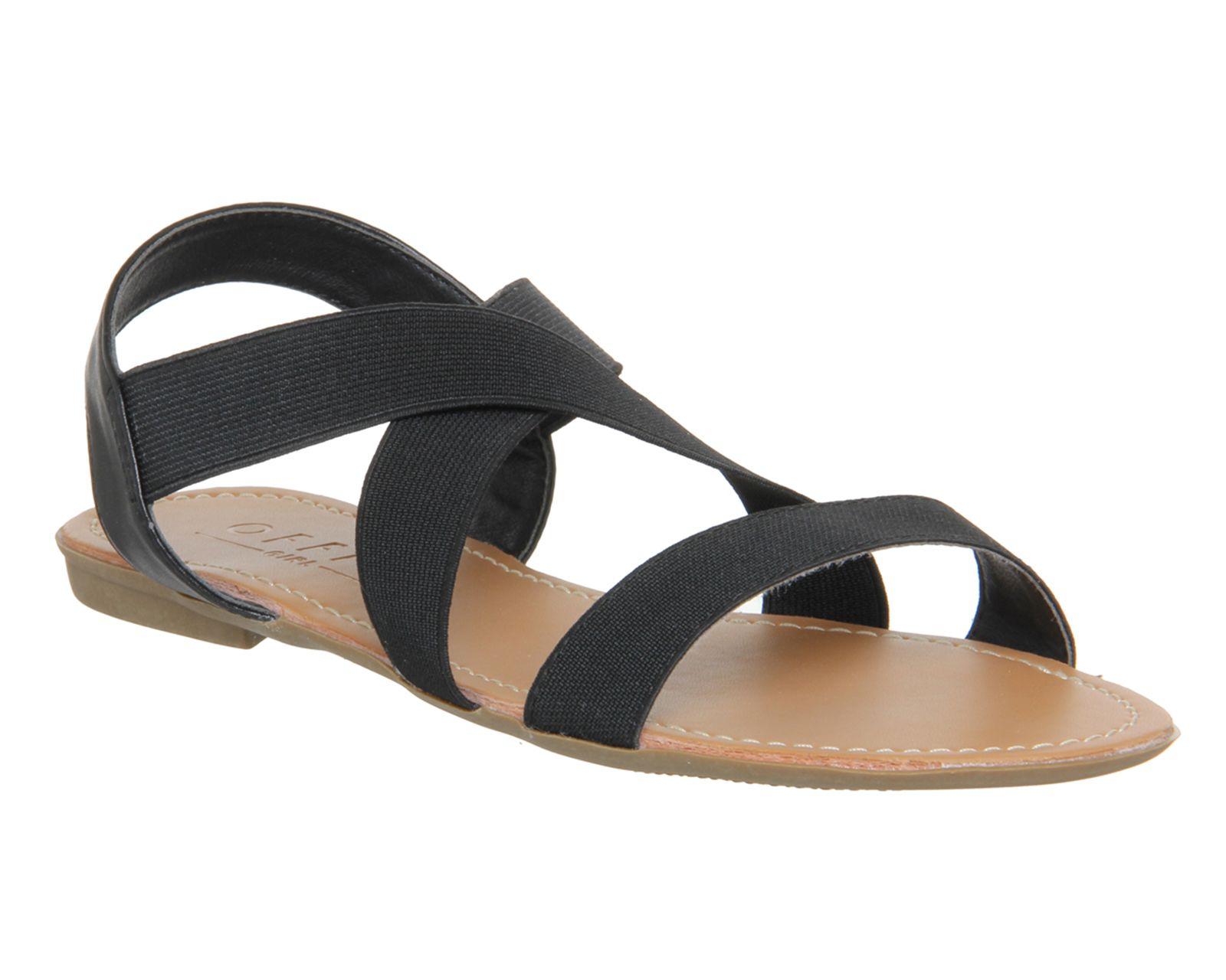 Black sandals holiday - Office Orbit Elastic Strap Sandal Black Elastic Sandals