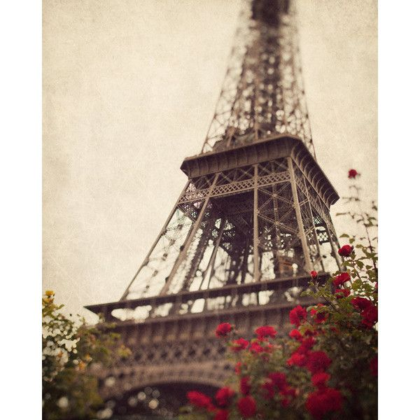 Eiffel Tower photograph, Romantic, Travel, France, Europe, Autumn,... ($30) ❤ liked on Polyvore