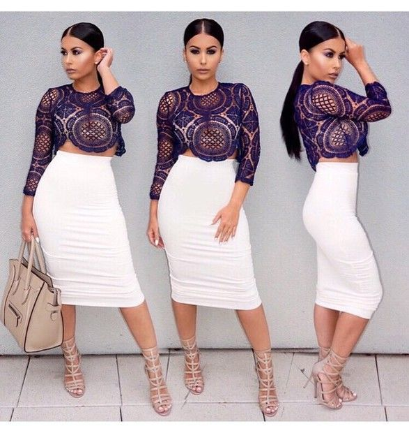 White Tuliup Long sleeve Crop Top & Pencil Skirt Set | All white ...
