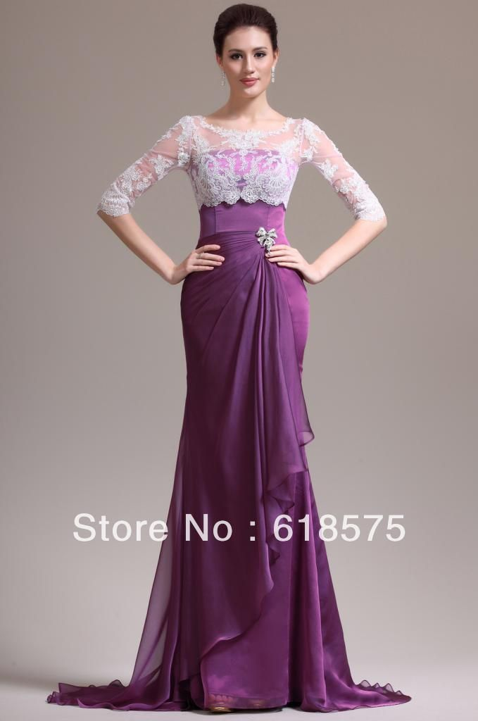 Two Pieces With Lace Jacket Half Long Sleeve Purple Chiffon Mermaid Wedding Gown 159 00