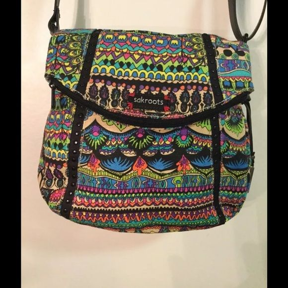"Sakroots artist circle Foldover Crossbody sakroots bag Canvas Adjustable crossbody strap with 20"" drop Top zip closure Back slip pocket; logo charm Interior features zip pocket and 2 slip pockets 10"" W x 10"" H X 3-1/2"" D  Retails for 59.00 Sakroots Bags Crossbody Bags"