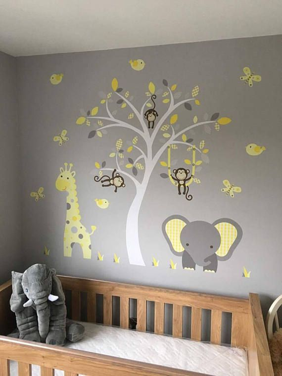 jungle decal, gender neutral wall stickers, yellow and grey nursery