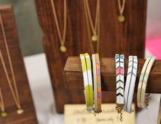 Painted leather bracelets,