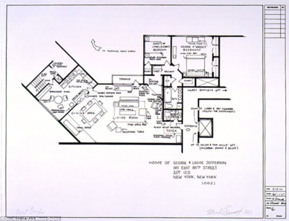 Artists sketch floorplan of friends apartments and other for Floor plans of famous houses