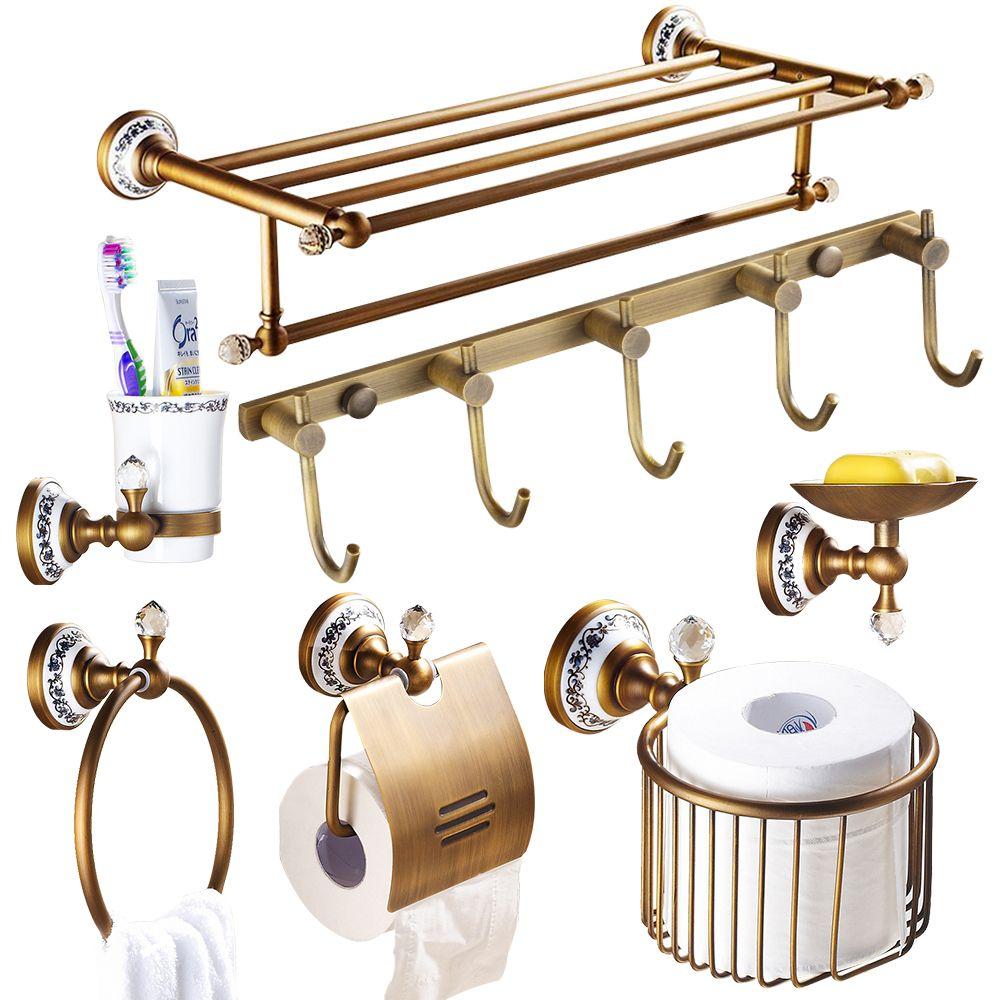 Polished Diamond Bathroom Hardware Set European Antique Porcelain Crystal Bathroom  Accessories Set Brass Bathroom Products Kgx