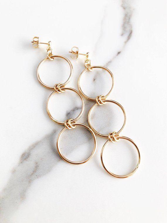 dea208917 Mohala Hoop Earring - Gold Hoop Earring, Gold Earring, Gold Circle Stud  Earring, Gold Post Earring,