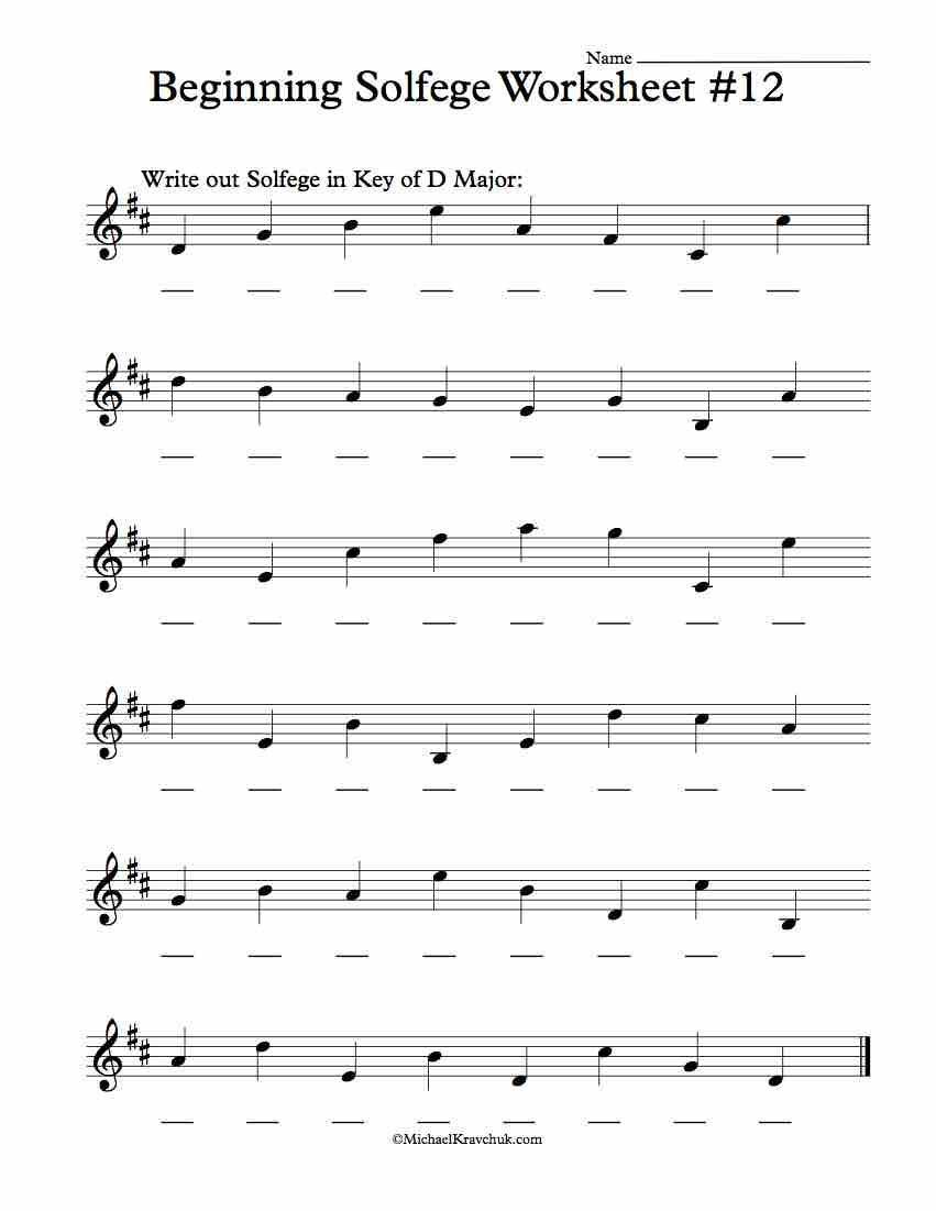 Worksheet 12 Solfege Worksheets for Classroom
