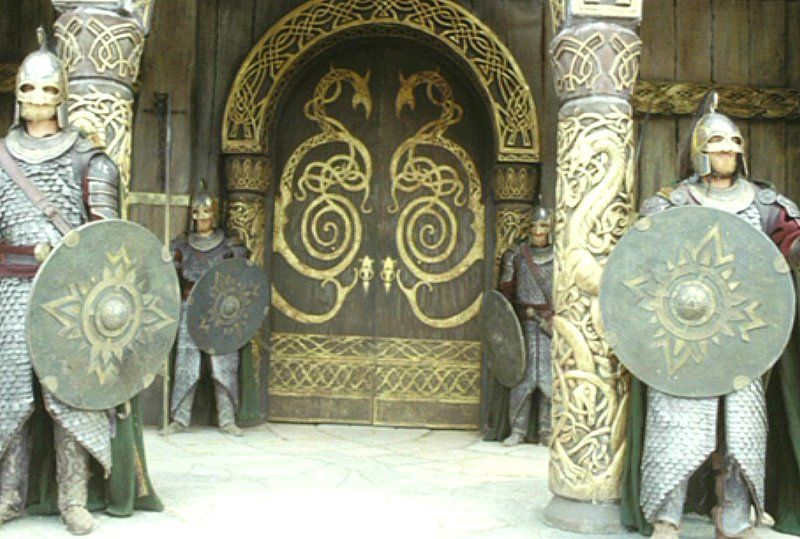 The doors to the great Hall of Meduseld in Edoras, Rohan ...