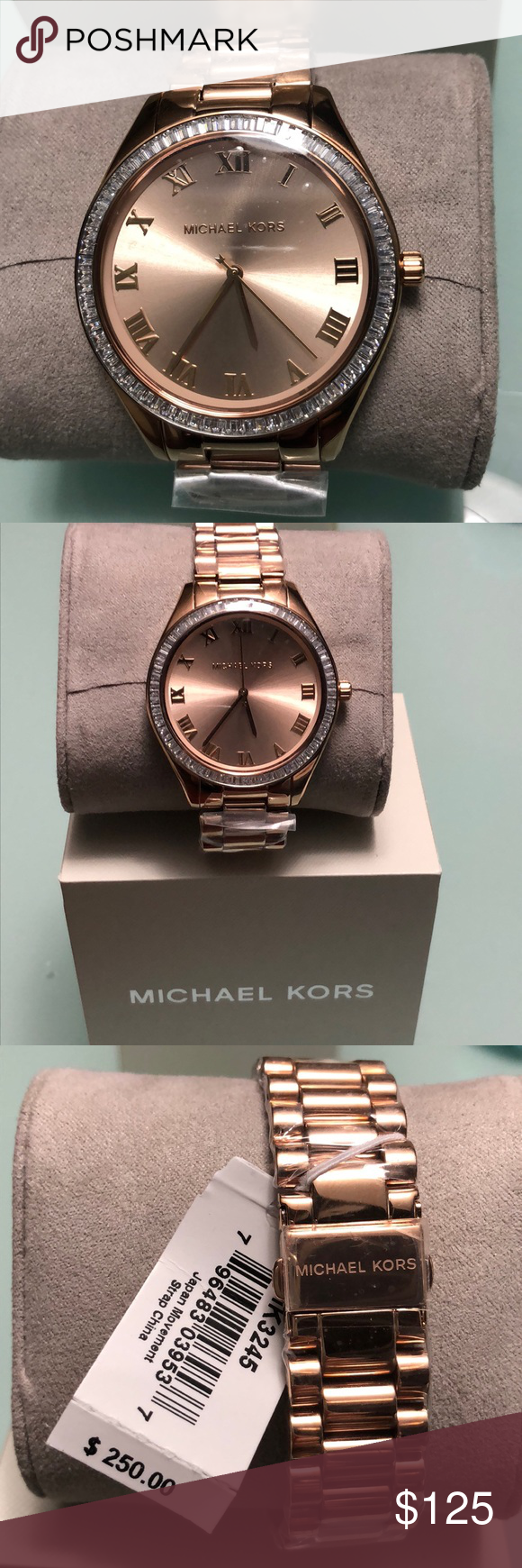 a1b5285ffdbe New Authentic Michael kors Rose gold watch MK3245 Michael kors Rose tone  Blake Glitz dial watch Mk 3245 a trapezia stone to ring complements the  oversized ...