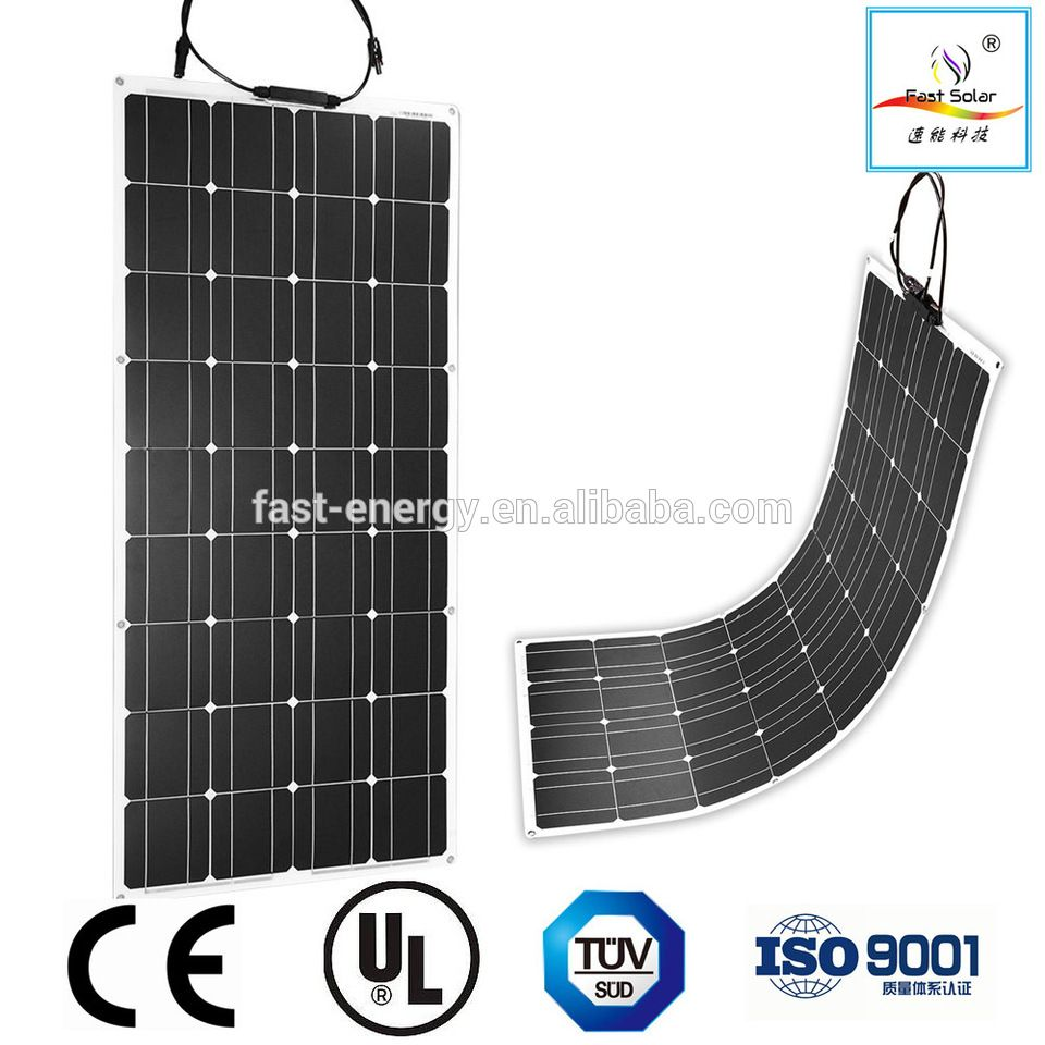 Solar Panel 100w 18v 12v Bendable Flexible Solar Charger Lightweight Solar Module With Mc4 For Rv Boat Cabin Tent