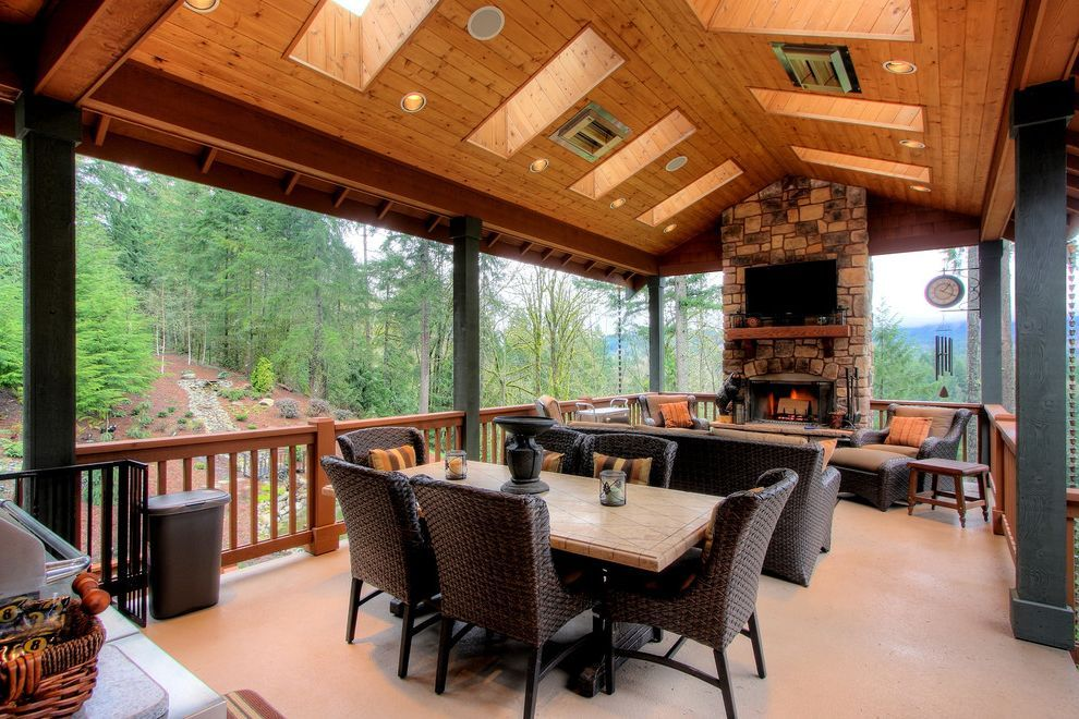 Mastercraft Seattle For Rustic Deck And Outdoor Fireplace Indoor Outdoor Living Outdoor Living