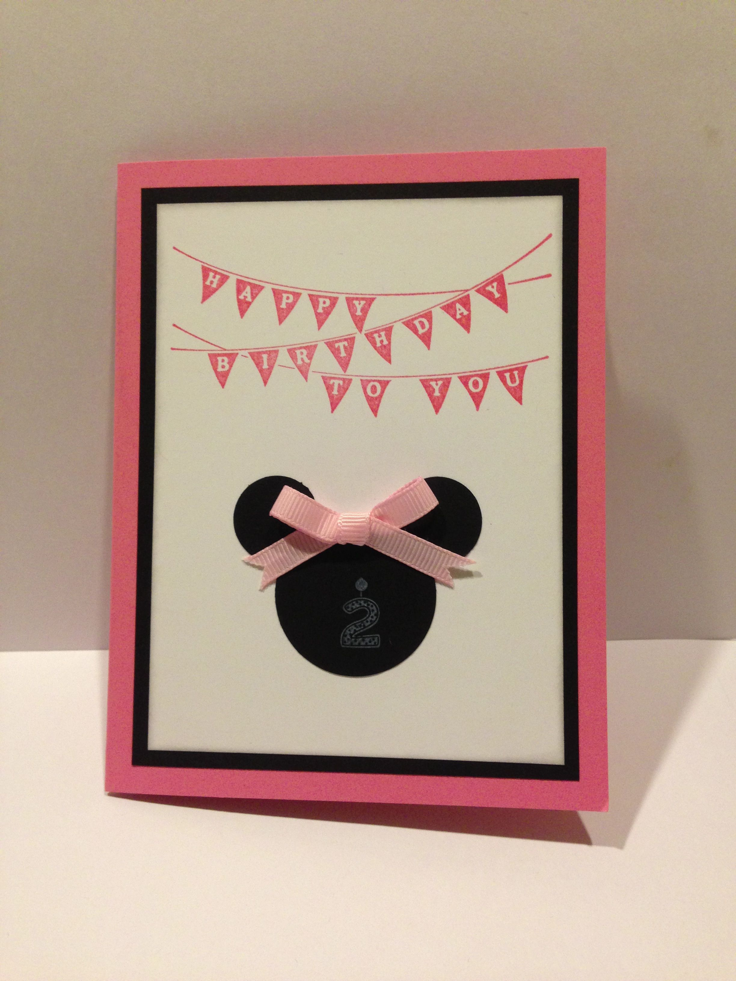 Card I made for my Cousins 2nd Birthday She loves Minnie Mouse