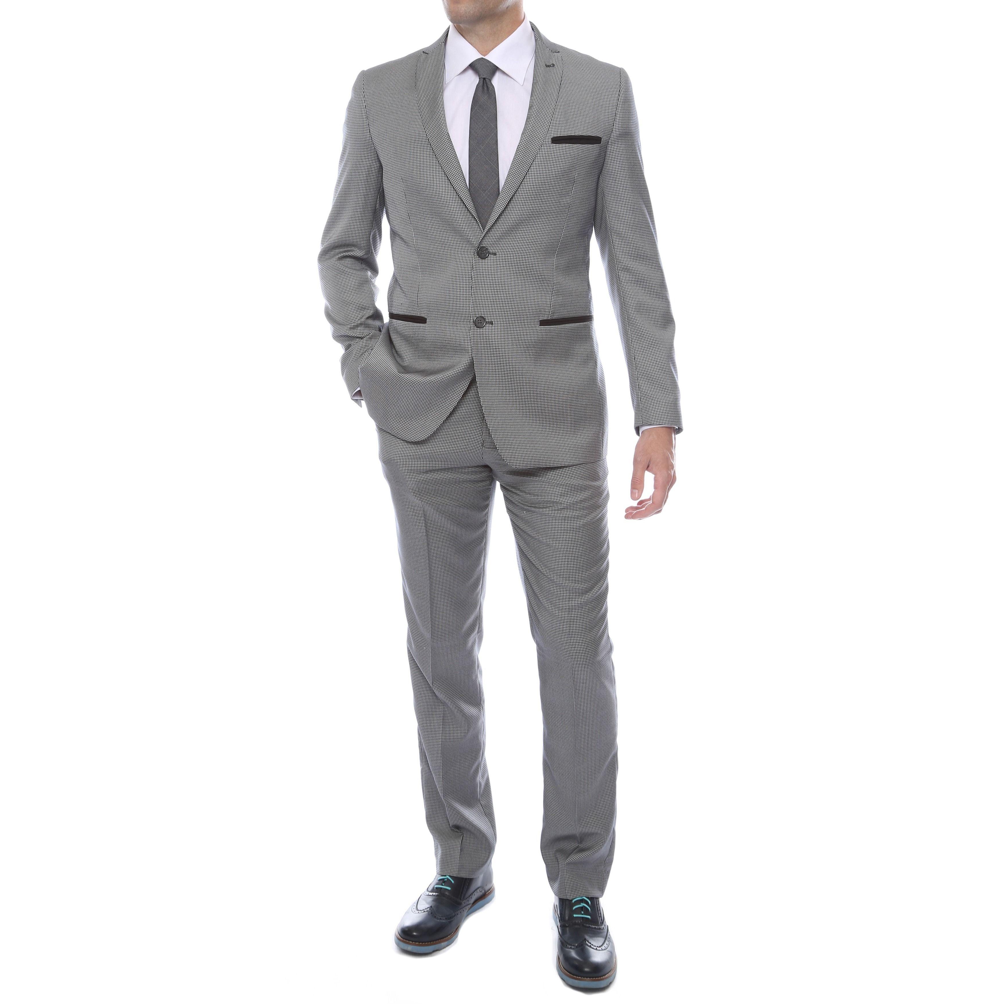 Zonettie-Ferrecci Men's Ultra Comfort 2-piece 2-button Suit - Puppy Tooth/Birds Eye Design