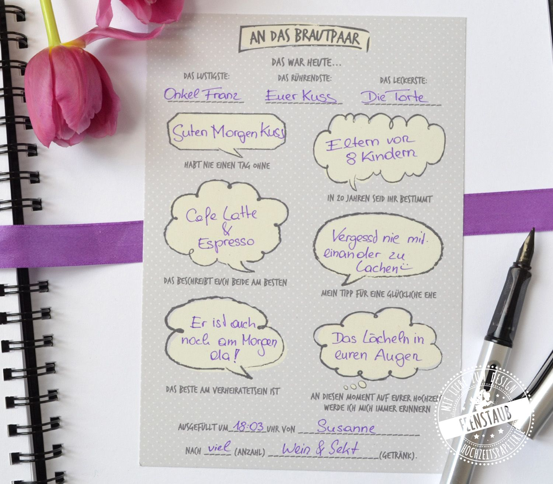 Gastebuch Karte Punktchen Gastebuch Hochzeit Mit Fragen