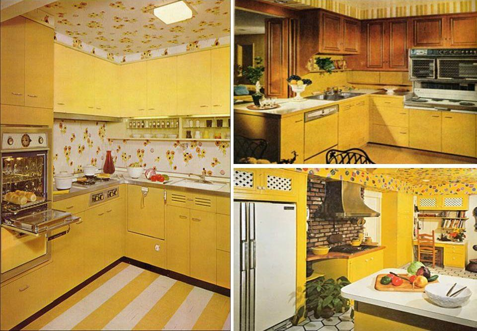 Brown And Yellow Retro Kitchens