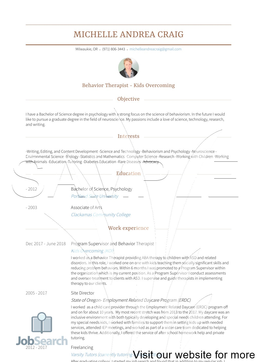 Sample Child Care Resume Objectives Australia 2020 in 2020