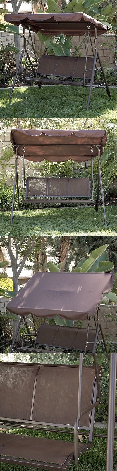 Swings 79700: 3 Person Patio Swing Outdoor Canopy Awning Yard Furniture  Hammock Steel