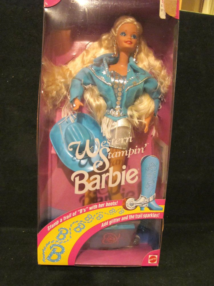 NIB BARBIE DOLL 1993 WESTERN' STAMPIN COWGIRL