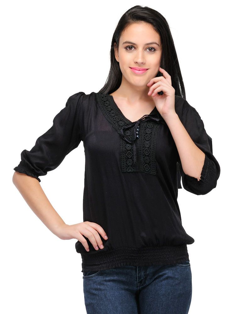 f6cfc99d Women Designer Top Western Party Wear Girls Tops T Shirts Elastic Waist  Rayon