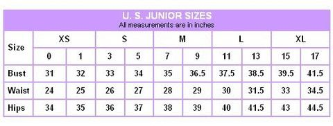 Junior S Size Chart Charlene Style Boutique