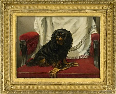 Artist Arthur Tait American 1819 1905 Title Lady Hilary Category 19th 20th Century Oils Animal Paintings Spaniel Art King Charles Dog