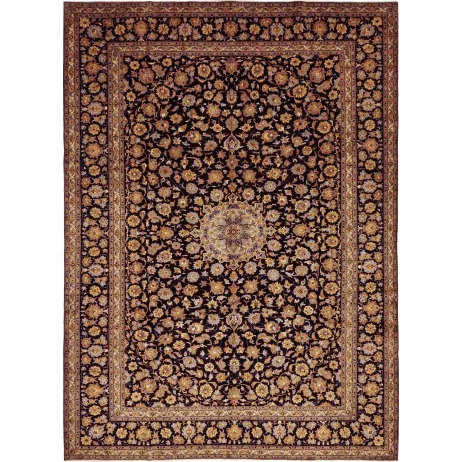 Kashan Hand Knotted Area Rug 10 0 X 14 0 10 0 X 14 0 Blue Wool Oriental Colorful Rugs Area Rugs Natural Rug