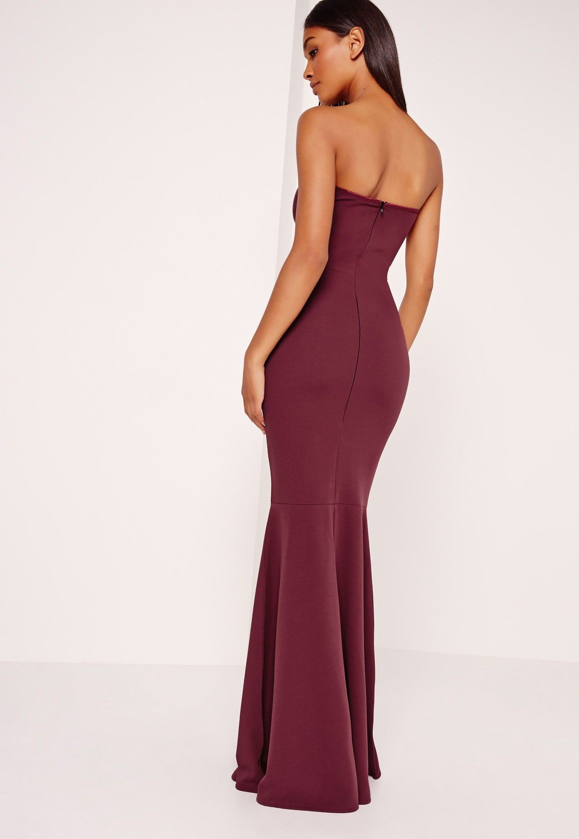 7efc96d317bff Missguided - Scuba Bandeau Fishtail Maxi Dress Burgundy