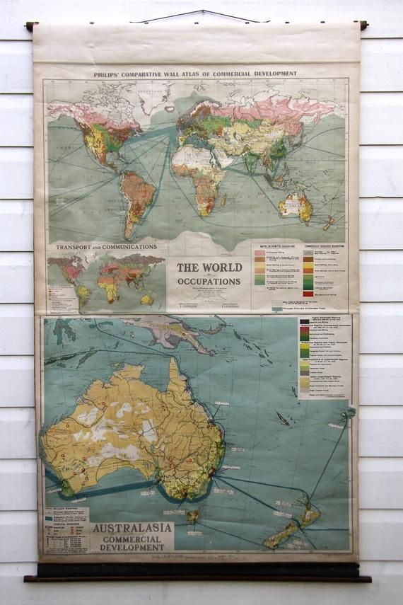 Vintage school pulldown map print poster chart classroom old cloth ...