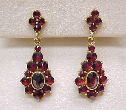 Item Ornate Dangle Bohemian Garnet Earringscomposition 18k Goldgems Rose Cuts