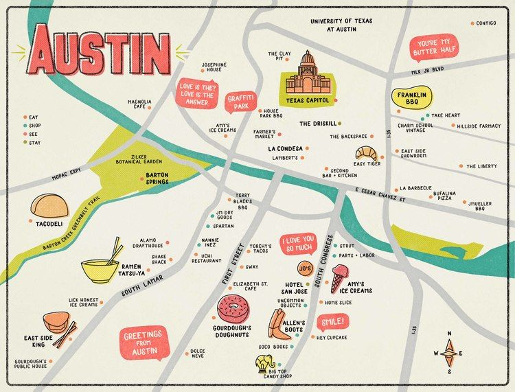 Illustrated Map of Austin, TX by Emily Schramm graphic designer and on internet map, world map, word map, buenos aires map, print map,