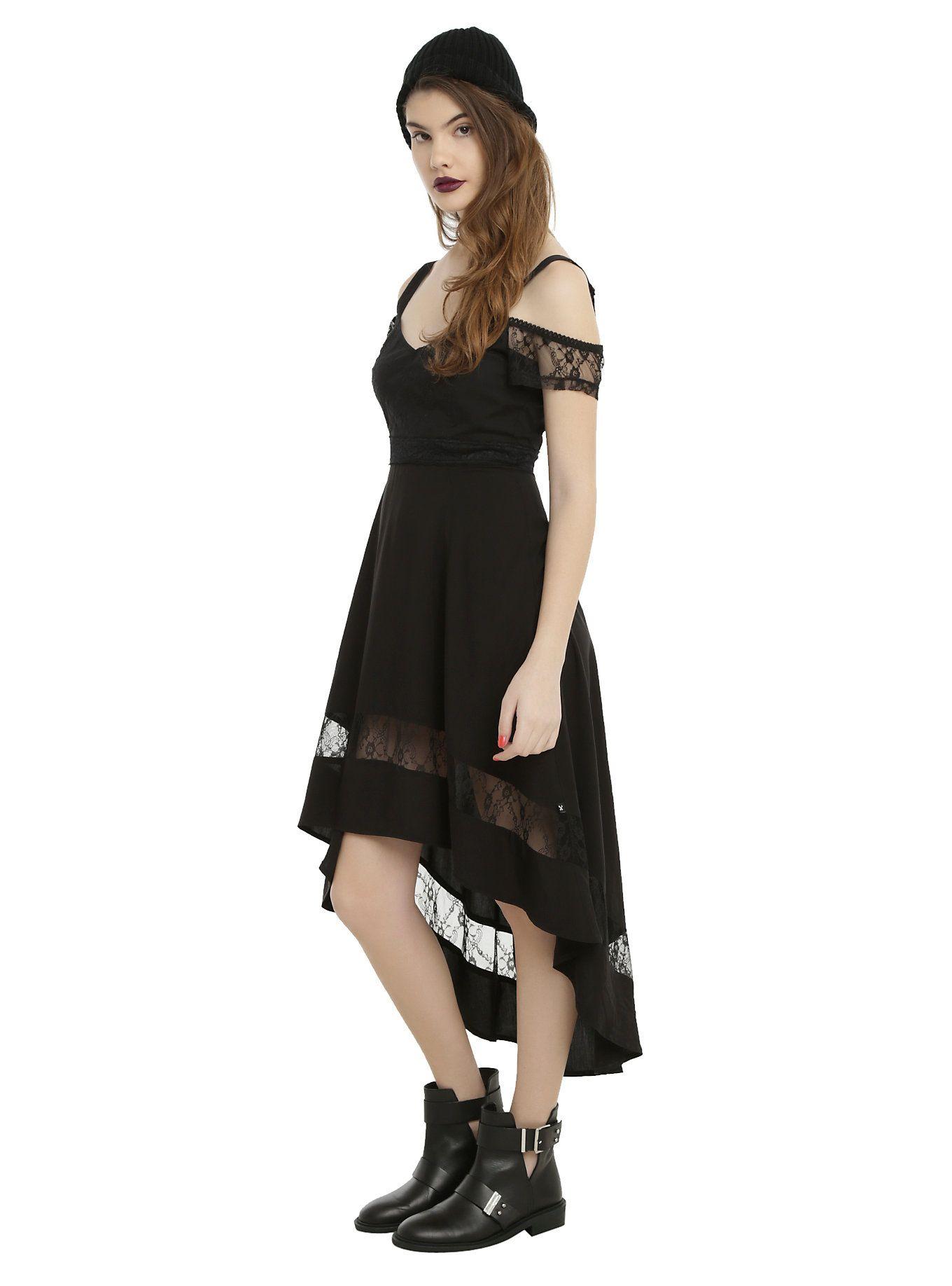 58cb48f8bb Royal Bones By Tripp Black Cold Shoulder Hi-Low Dress