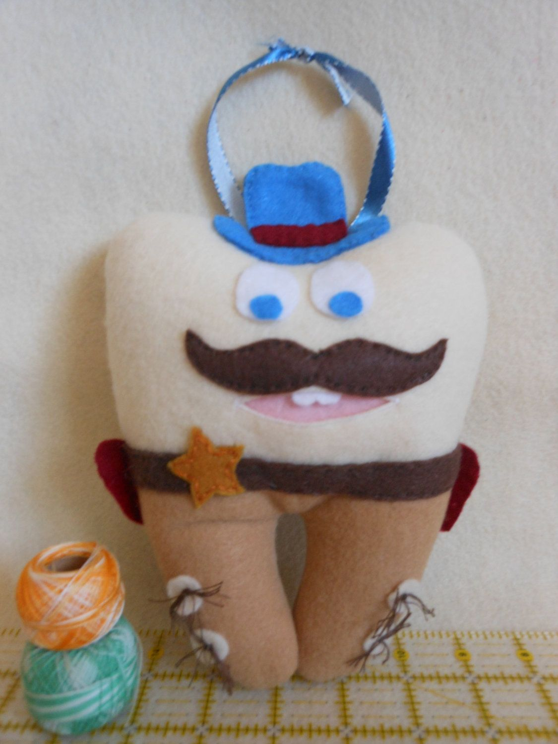 Cowboy Felt Tooth Fairy Pillow - A tooth fairy pillow is like a pair of Levis...Better after time...Like when you lose a lot of teeth.